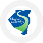 Allegheny Cleanways' logo which is the shape of Allegheny County