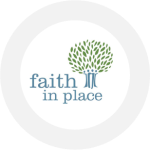 The logo for Faith in Place which is a tree with new leaves