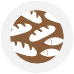 The logo for Five Loaves and Two Fishes which is a pattern of fish and bread