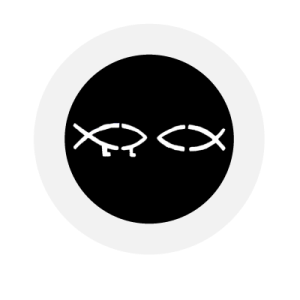 Matthew Groves logo of two fish symbolizing Christianity and evolution linking to his website