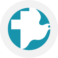 MCC logo which is a cross and peace dove together
