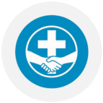 MDS's logo which is two hands shaking in front of a cross
