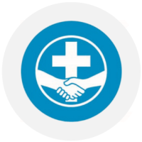 MDS's logo: two hands shaking in front of a cross