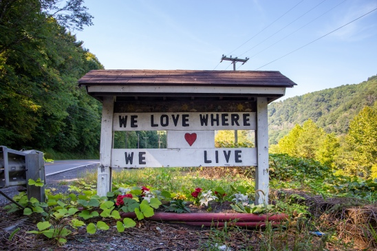 A roadside sign on Coal Heritage Tr. (Route 52) in McDowell County, West Virginia.