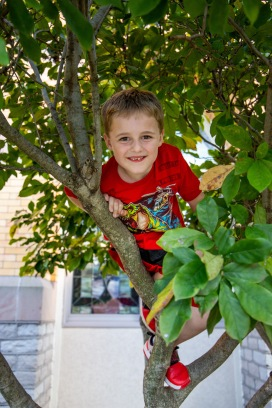 When I asked Jorian if I could take his picture he insisted that we go outside. He asked me to take his photo in his favorite climbing tree.