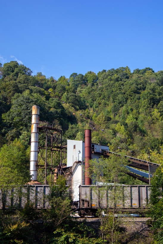 An old building on the edge of Keystone previously used for processing and moving coal.