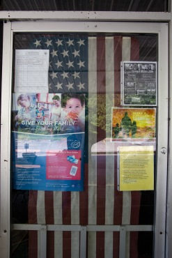 The door into Five Loaves and Two Fishes displays some of the values held by the organization; from physical health, to patriotism, to family bonding, it's clear that the McKinneys are striving to do more in their work than just feed those in need.