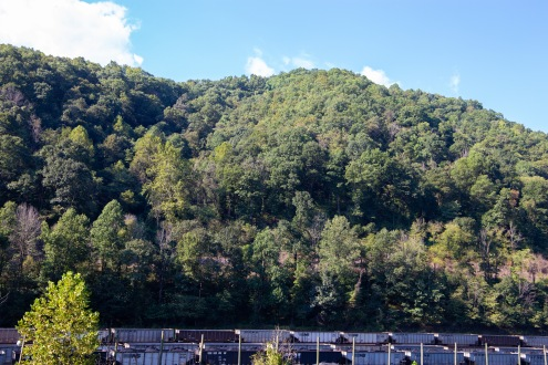 A train carrying coal passes by on Coal Heritage Road in McDowell County, WV.