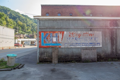 A tattered billboard on the main street in Keystone, WV.
