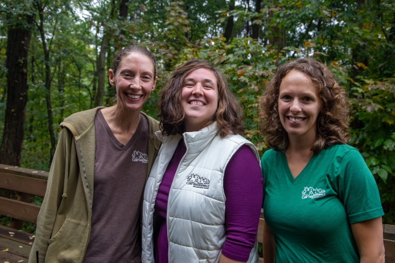 We sat down with staff members Amy Huser (left), Naomi Graber Leary (center), and Jenna Liechty Martin (right) to talk about the mission and vision of Camp Friedenswald.