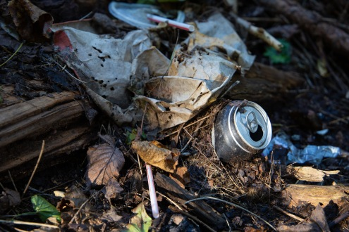 Soda cans, straws, and other fast food wrappers at an illegal dumpsite near Allegheny Cleanways.