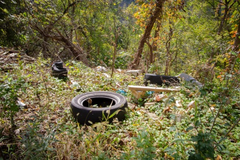 Tires are commonly found at illegal dump sites because it's difficult to properly dispose of them.