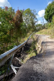 Al told us that this road collapsed over a year ago. He said this is a common occurrence in Pittsburgh due to the topography. Instead of repairing the street, the city has blocked it off.