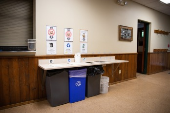 Part of Friedenswald's sustainability plan is to educate campers about waste. Campers learn to compost and recycle during meals times, and take turns emptying the bins into the outdoor compost pile throughout the week.