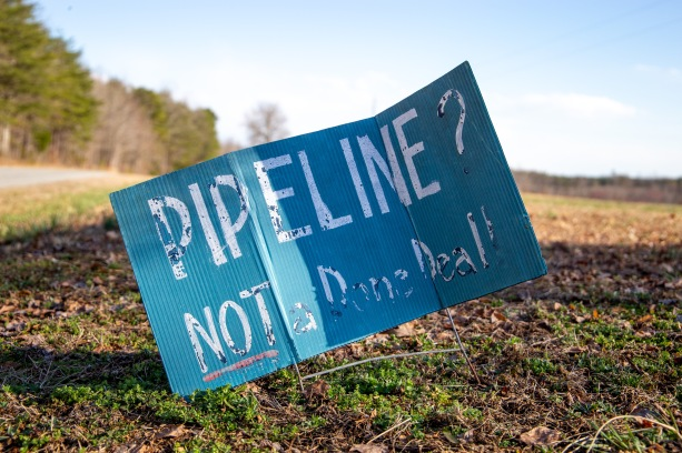 "This ""no pipeline"" sign sits outside of John and Ruby Laury's home in Buckingham County. The sign states that the pipeline is ""not a done deal"", telling neighbors that there is still time to stop the construction of the Atlantic Coast Pipeline (ACP)."