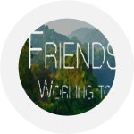 Friends of Buckingham County's logo consisting of a photo of the blue ridge mountains and the word Friends