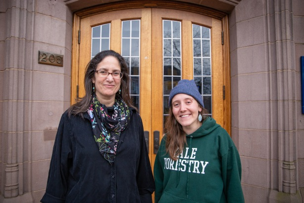 Marianne Engelman-Lado(left) is an attorney and a lecturer at the Yale School of Public Health and the School of Forestry and Environmental Studies. Her work focuses on environmentally overburdened communities. On the right is one of her students and mentees, Jill Howell.