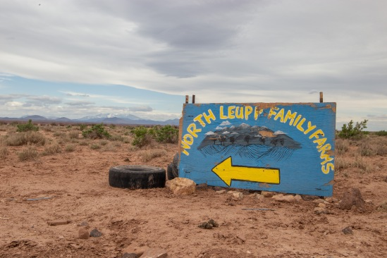 This sign marks the entrance to North Leupp Family Farms, a collective farm run by Stacey Jensen. Stacey started this project as a way to connect with the land and his community while also addressing health issues in Navajo Nation.