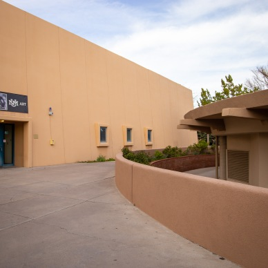 Much of the architecture in Albuquerque is based on the original designs of the Pueblo Indians. Here at the University of New Mexico, this influence can be seen in the shapes and materials that mimic adobe homes.