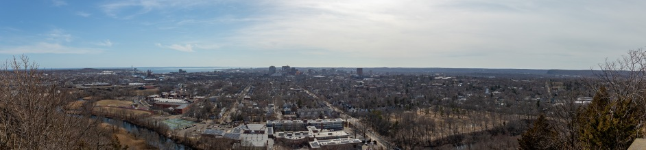 A panoramic view of the city of New Haven, home to Yale University. Before New Haven was colonized by the Puritans in 1637, the indigenous people known as the Quinnipiac called this land home.