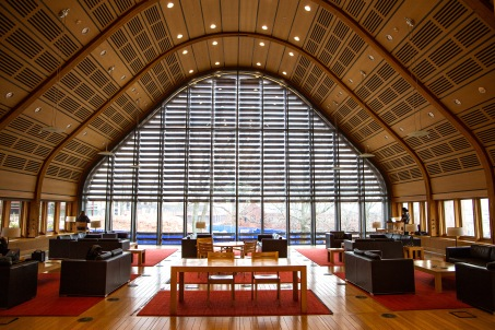 More than 24% of the Forestry building's energy comes from on-site solar panels, and just over 50% of the interior wood was sourced from the Yale-Myers Forest. These are just two examples of how the building's innovative features reflect the school's reputation for cutting edge environmental research.