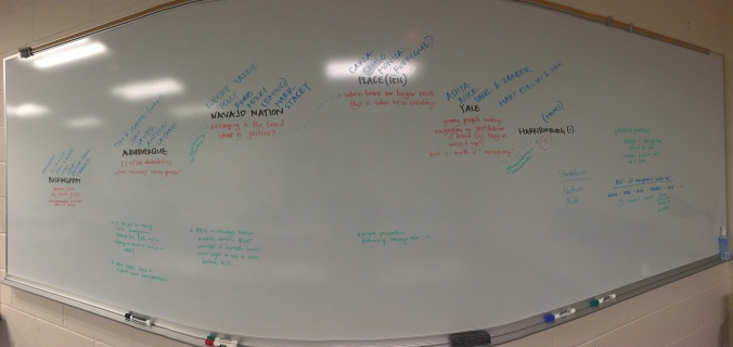 Writing out our season outline on the whiteboards at work.