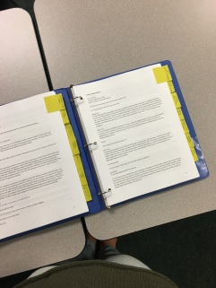 Our Season Two binder with all of our printed interview transcriptions and labels.